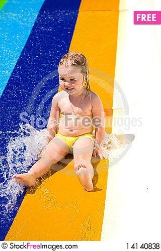 Free Water Slide Fun On Outdoor Pool Royalty Free Stock Photos - 14140838