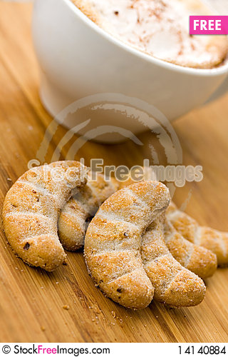 Free Cappuccino And Sweet Cookies On The Wooden Backgro Stock Images - 14140884