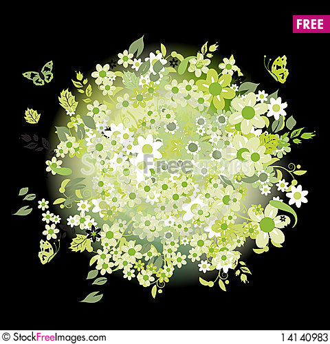 Free Floral Bouquet On Black, Summer Green Stock Photos - 14140983