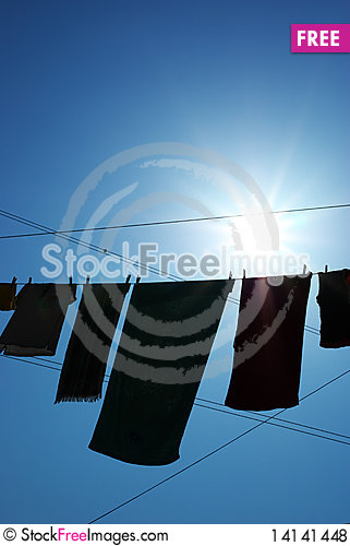 Free Linen On The Rope Royalty Free Stock Photos - 14141448
