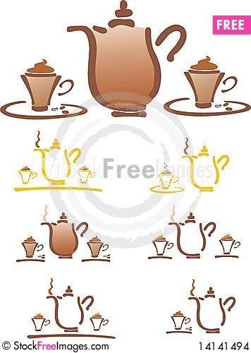 Free Stilyzed Vector Coffee Pot Stock Images - 14141494