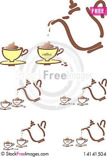 Free Stilyzed Vector Coffee Pot Stock Images - 14141504