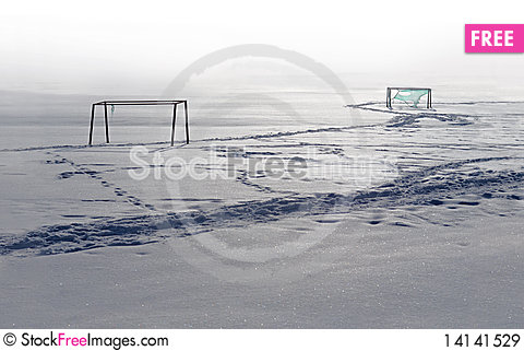 Free Football Field In Winter Royalty Free Stock Images - 14141529