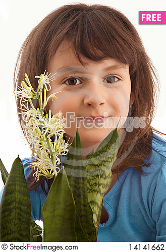 Free Smiling Girl With Blossom Flower Stock Photography - 14141662