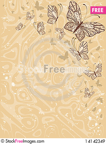 Free Background With  Butterflies Royalty Free Stock Images - 14142349