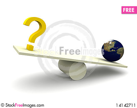 Free Balancing Question Mark With Earth Stock Image - 14142711