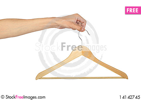 Free Man S Hand With Hanger Royalty Free Stock Photo - 14142745