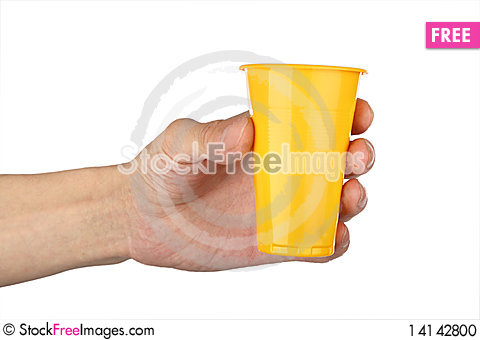 Free Man S Hand With  Plastic Cup Stock Photo - 14142800