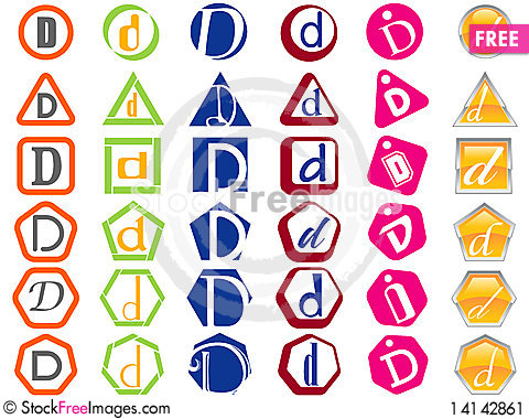 Letter D Icons Badges and Tags Stock Photo