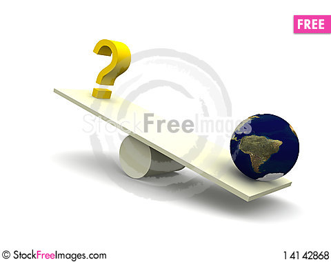 Free Balancing Question Mark With Earth Royalty Free Stock Photos - 14142868