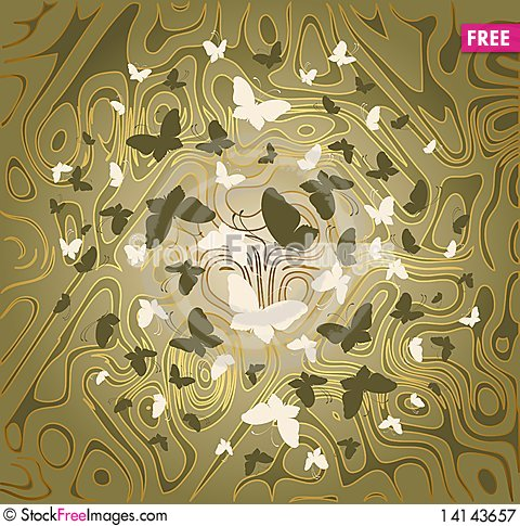 Free Background With  Butterflies Royalty Free Stock Photography - 14143657