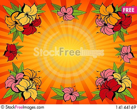 Free Background With Tropical Flowers Royalty Free Stock Images - 14144169