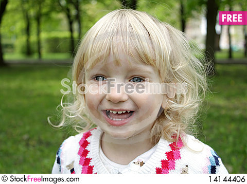 Free Portrait Of A Little Blue-eyed Girl Royalty Free Stock Image - 14144406