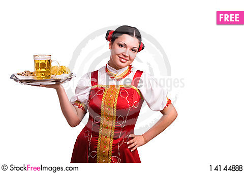 Free German/Bavarian Woman With Beer Royalty Free Stock Photos - 14144888