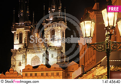 Free Gothic Church At Night Stock Photo - 14145640