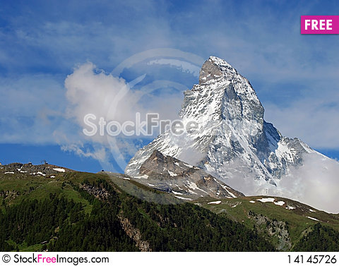 Free Matterhorn With Clouds Royalty Free Stock Image - 14145726