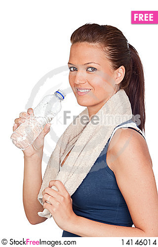 Free Gymnastics Girl With A Towel And Water Stock Images - 14146014