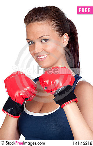 Free Attractive Girl Practicing Boxing Royalty Free Stock Photos - 14146218