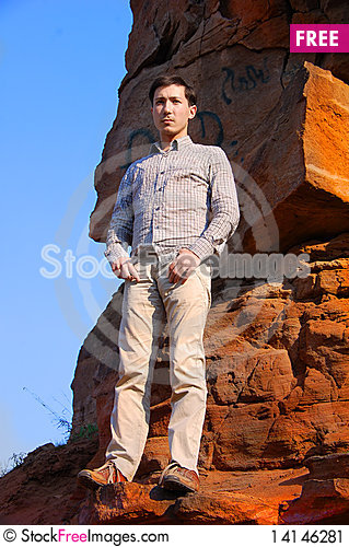 Free Handsome Male Fashion Model Outdoors Stock Image - 14146281