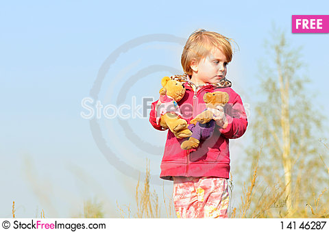 Free Kid Girl With Two Toy Royalty Free Stock Photography - 14146287