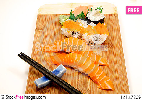 Free Sushi On A Babmoo Board Royalty Free Stock Images - 14147209