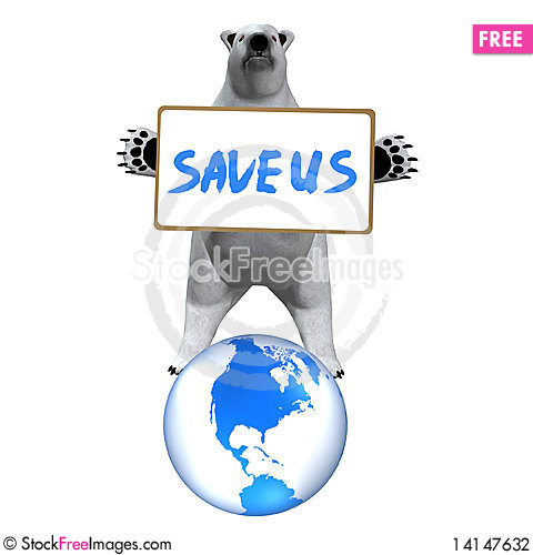 Free Polar Bear With Message Board Stock Photography - 14147632