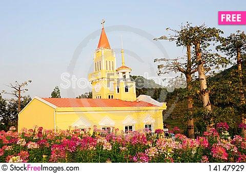 A yellow church. Stock Photo