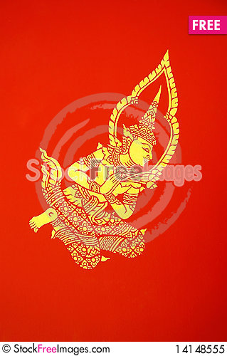 Deva mural on wall of temple Stock Photo