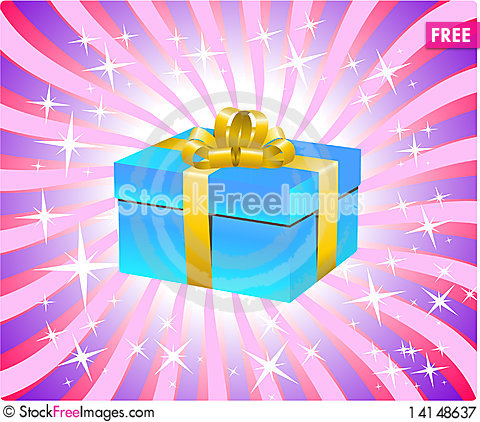 Free Blue Gift Box Royalty Free Stock Photography - 14148637