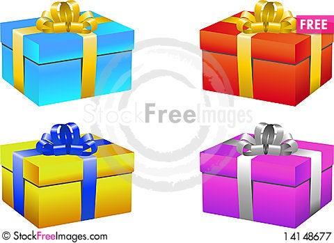 Free Gift Box Set Royalty Free Stock Photography - 14148677