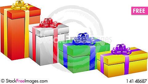 Free Gift Box Set Royalty Free Stock Photography - 14148687