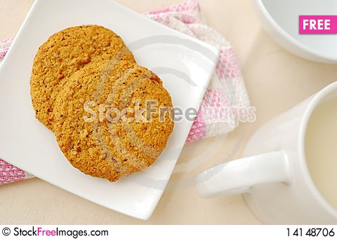 Free Top View Of Brown Cookies For Breakfast Royalty Free Stock Image - 14148706