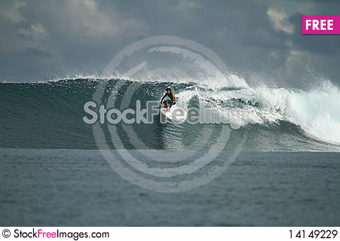 Free Surfer On Wave, Mentawai Islands, Indonesia Royalty Free Stock Images - 14149229