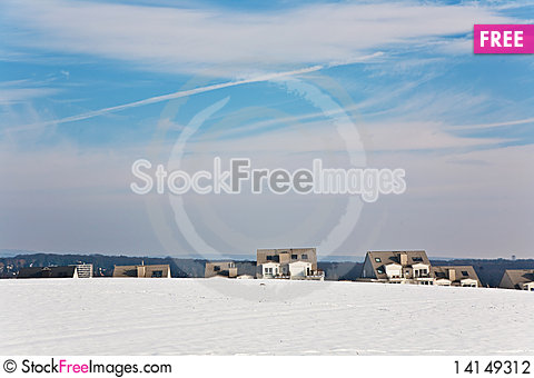 Free Landscape With Housing Area In Snow And Blue Sky Stock Photography - 14149312