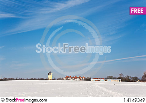 Free Landscape With Water Tower In Snow Royalty Free Stock Images - 14149349