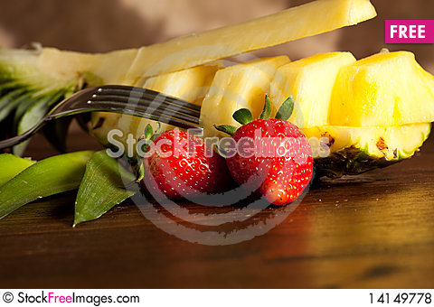 Free Pineapple On Wood Table Royalty Free Stock Photos - 14149778