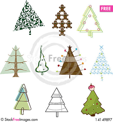 Free Iconic Christmas Trees Royalty Free Stock Photography - 14149897
