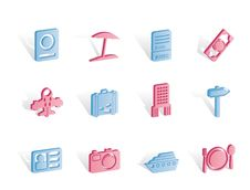 Free Travel, Trip And Holiday Icons Royalty Free Stock Images - 14140329