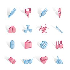 Free Collection Of  Medical Themed Icons And Warning Royalty Free Stock Photo - 14140335
