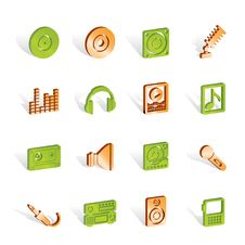 Free Music And Sound Icons Royalty Free Stock Photo - 14140445