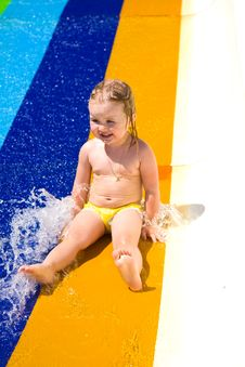 Water Slide Fun On Outdoor Pool Royalty Free Stock Photos