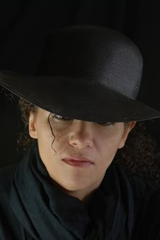 Pretty Woman With Black Hat Mysterious Woman Royalty Free Stock Photography