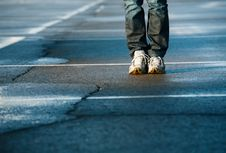 Free Human Legs On Pavement Royalty Free Stock Images - 14140909