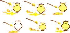 Free Pot Of Honey, Lemon And A Teaspoon Stock Image - 14141391