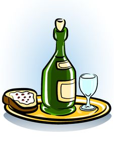 Free Tray With Sandwich Glass And Bottle Of Wine Royalty Free Stock Image - 14143506