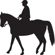 Free Man On The Horse Silhouette Stock Images - 14143964