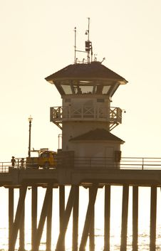 Huntington Beach Watchtower Stock Images