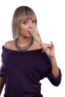 Free Woman Drinking White Wine. Royalty Free Stock Image - 14144856