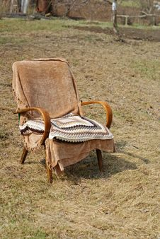 Garden Chair With Pillow Royalty Free Stock Image