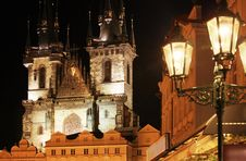 Gothic Church At Night Stock Photo